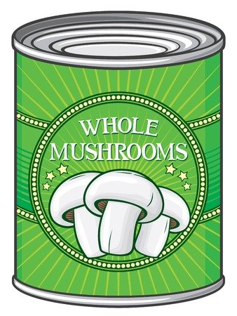 canned meat: tin of whole mushrooms (can of whole mushrooms) Illustration