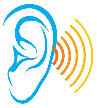 prueba de la audición humana (oído y el icono de sonido, escuchar diseño vectorial) Ilustración de vector