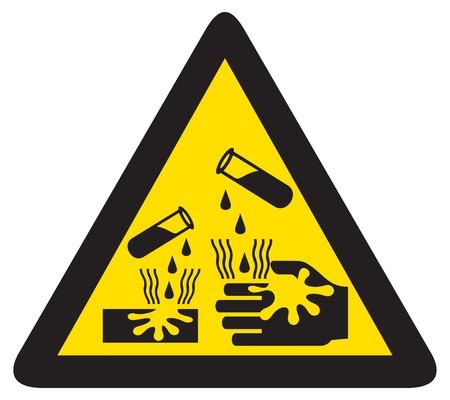 dangerous: danger corrosive sign