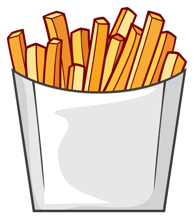 french fries in paper box (fast food vector icon)