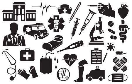 enfermera con cofia: conjunto de iconos médicos (célula bacteriana, la serpiente y el cuenco de símbolos, vendaje adhesivo, casquillo de la enfermera, roto la pierna humana, la bolsa de donación de sangre, la cadena de ADN, termómetro, kit de primeros auxilios, máscara, corazón, estetoscopio, muleta)
