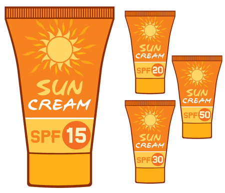 sun cream: sun cream cosmetics collection (uv protection tubes with different SPF factor, sunscreen packaging) Illustration