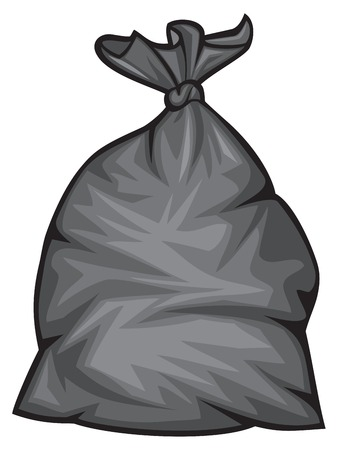 garbage bag: black plastic trash bag vector illustration