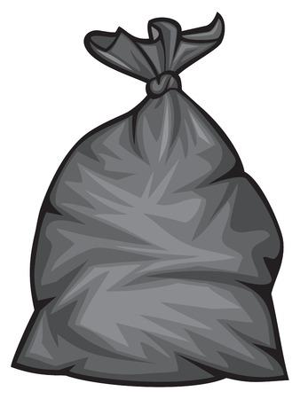 czarny, plastikowy worek na śmieci ilustracji wektorowych