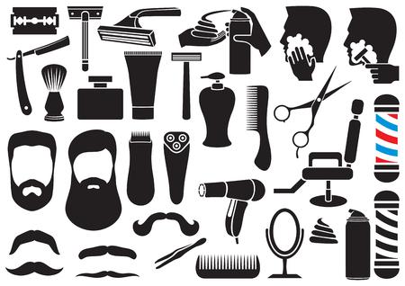foam: barber salon or shop vector icons set (shaving tools collection, comb, mustache, scissors, shears, haircut, razor, lotion, pole, hair dryer, chair, beard, cream)