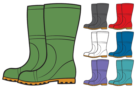 gumboots: rubber boots collection vector illustration Illustration