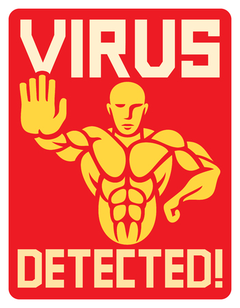 anti piracy: virus detected vector icon (strongman gesturing stop sign)