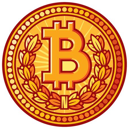 bank robber: bitcoin golden coin vector icon