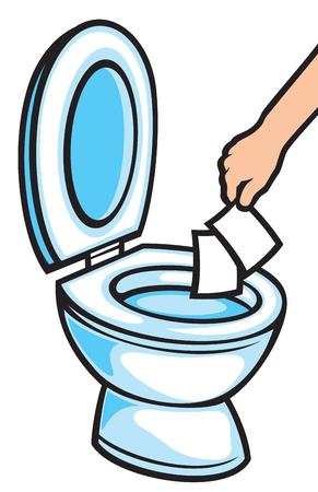 Hand werfen Papiertücher in der Toilettenschüssel