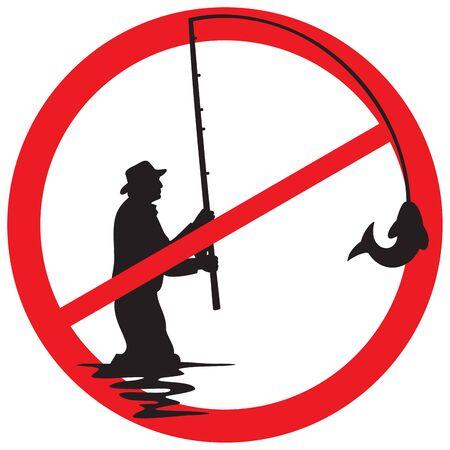 fishing prohibited sign Illustration