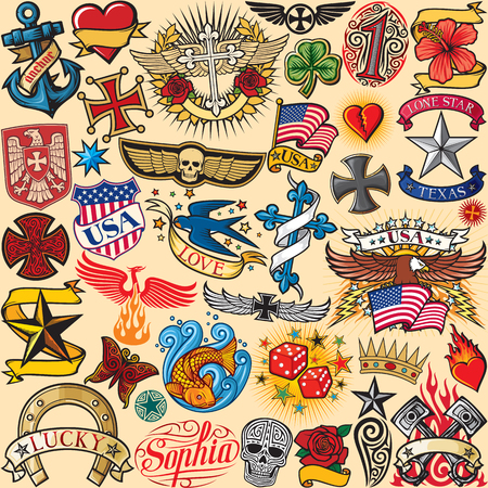 big tattoo collection seamless pattern (background)