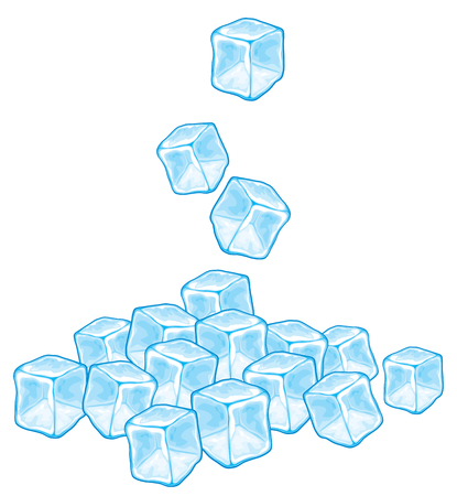 ice brick: falling ice cubes vector illustration