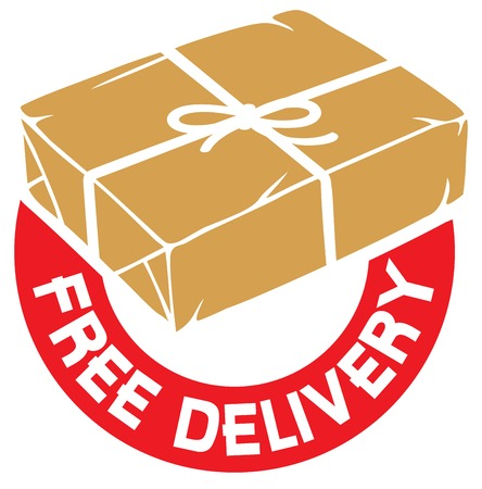 free delivery sign or label (parcel box with rope and kraft paper) Illustration