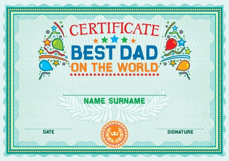daddy: best dad (father) on the world certificate