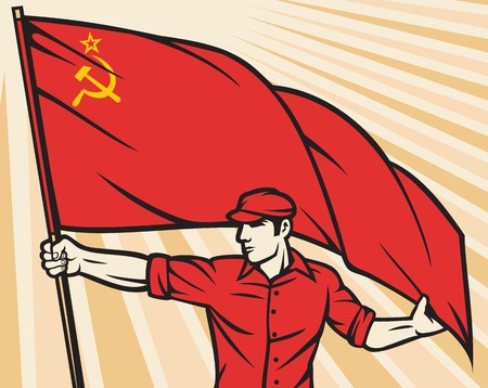 industry poster: Worker holding USSR flag - industry poster