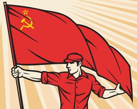 communism: Worker holding USSR flag - industry poster