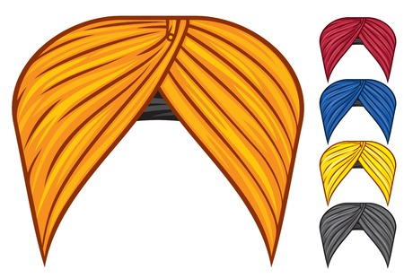 sanskrit: turban headdress vector set