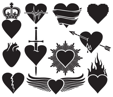 passion of the christ: hearts vector collection