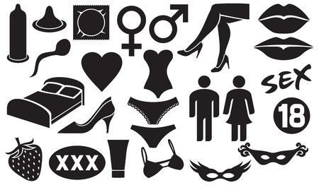Conjunto de iconos de sexo (envases de condones, los símbolos de género masculino y femenino, cama y la almohada, los labios, máscaras, sensualidad lubricante, las piernas cruzadas, corsé, bragas, corazón, esperma) Ilustración de vector