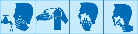 beard man: how to shave man beard using foam - instructions set Illustration