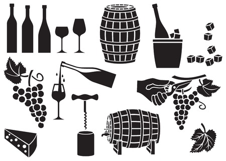 scissors: wine icons set (corkscrew, opener, cork, garden shears or pruner, barrel, bottle, glass, grapes, cheese, leaf)