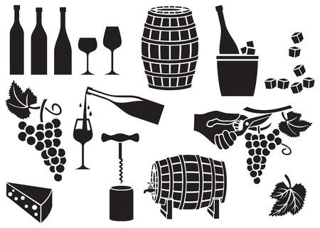 barrels: wine icons set (corkscrew, opener, cork, garden shears or pruner, barrel, bottle, glass, grapes, cheese, leaf)