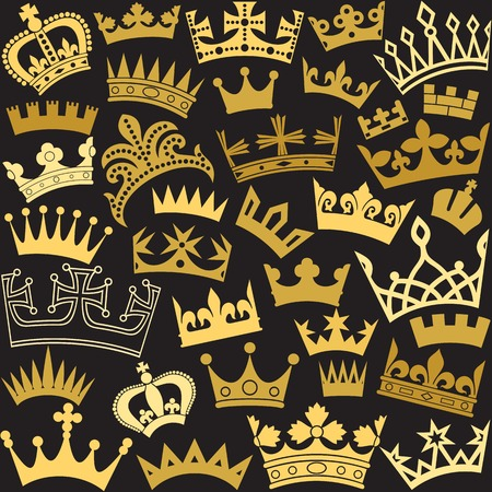 the aristocracy: vector seamless pattern with different shapes of crown Illustration