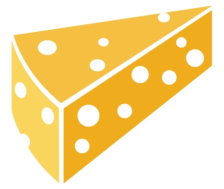 holes: slice of cheese with holes Illustration