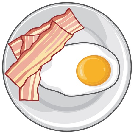 raw egg: fried egg with bacon on plate