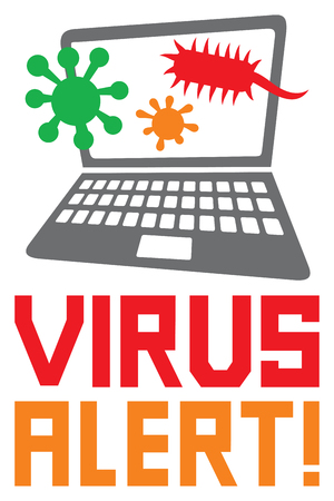 anti piracy: computer virus alert icon (antivirus concept) Illustration