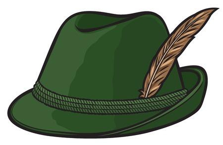 cappelli: cappello da caccia tedesco con piuma e corda illustrazione vettoriale Vettoriali