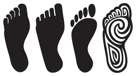 chiropody: human foot silhouette and footprints