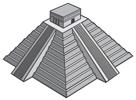 american cities: mayan pyramid vector illustration (chinhen itza monument)