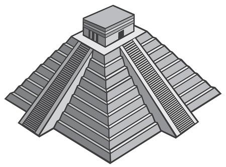archaeology: mayan pyramid vector illustration (chinhen itza monument)