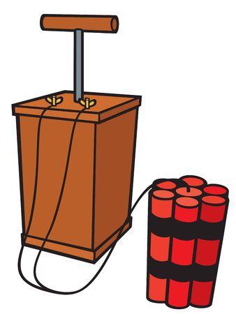 detonator: dynamite sticks and detonator vector illustration