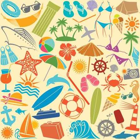 lifesaver: travel vacation and summer icons seamless pattern (hammock, swimsuit, bikini, palm, hibiscus flower, straw umbrella, cocktail, lighthouse, anchor, lifesaver, starfish, ice cream)