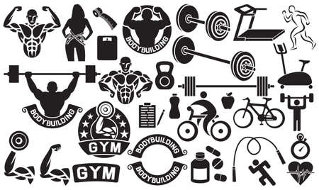 fitness woman: bodybuilding, health and fitness icons set (weightlifter with barbell, runner, sportsman, cyclist, apple, pills, heart, stopwatch, scales, woman with measuring tape, treadmill and exercise bike)