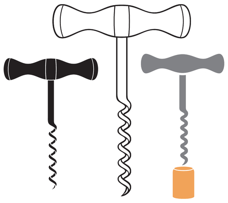 corkscrew (wine opener) vector illustration