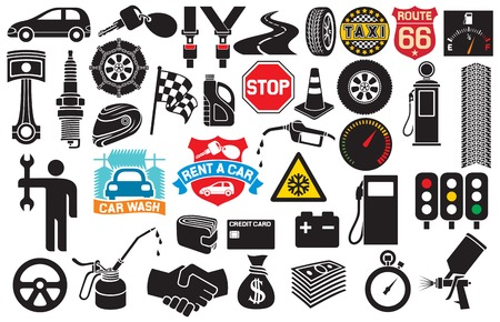 spark: car icons collection (auto and transport elements, tire track, seat belt, mechanic worker, spark plug, engine piston, taxi label, checkered flag, key)