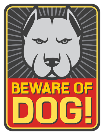 beware dog: beware of dog sign (label) Illustration