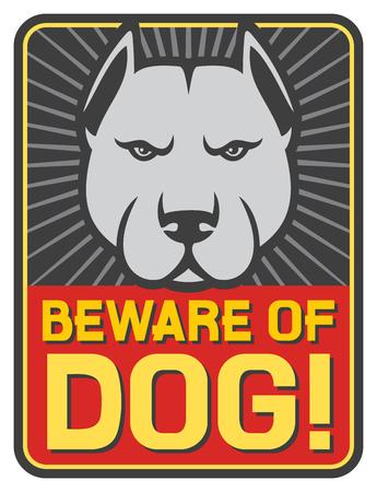 beware: beware of dog sign (label) Illustration