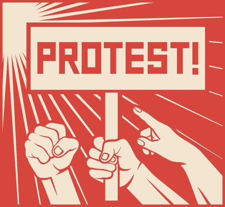 diseño de la protesta - un montón de personas furiosas (hombre sosteniendo transparentes, manifestaciones)