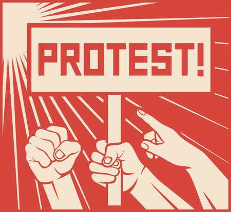 protest design - lots of furious people (man holding transparent, demonstrations) Imagens - 64676899