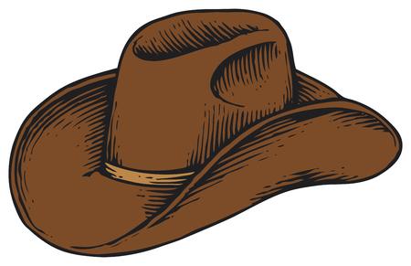 antique: cowboy hat - vintage engraved vector illustration (hand drawn style)