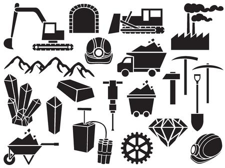black mining vector icons set (design elements)