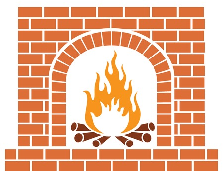 barbecue stove: A brick fireplace vector illustration. Illustration