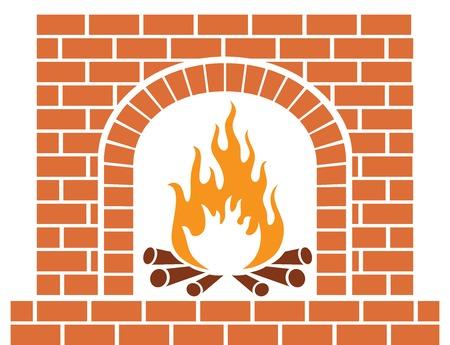 A brick fireplace vector illustration. Illustration