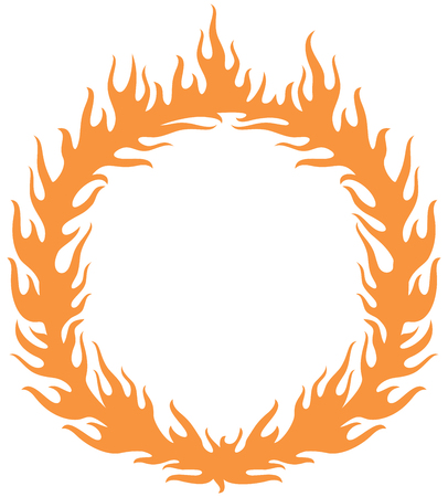 heated: A fiery ring burning (hoop in the fire vector illustration).