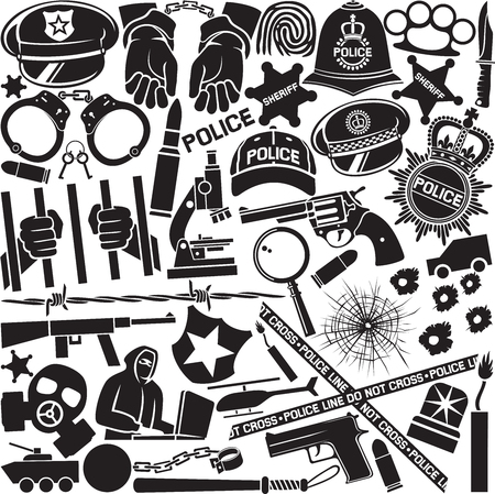 Police icons pattern or background (British bobby police helmet, hat, bat, hands in handcuffs, revolver, chain with shackle, sheriff star shield, barbed wire, bullet hole in glass)