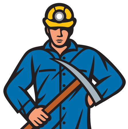heavy construction: coal miner with pick ax vector illustration Illustration